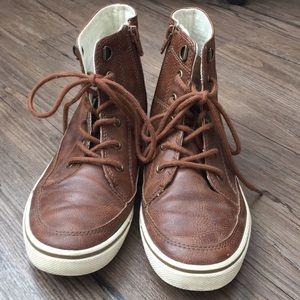 Boys Vegan Leather High Tops with Side Zips